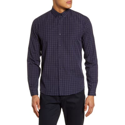 Topman Concealed Grid Check Button-Down Shirt, Blue