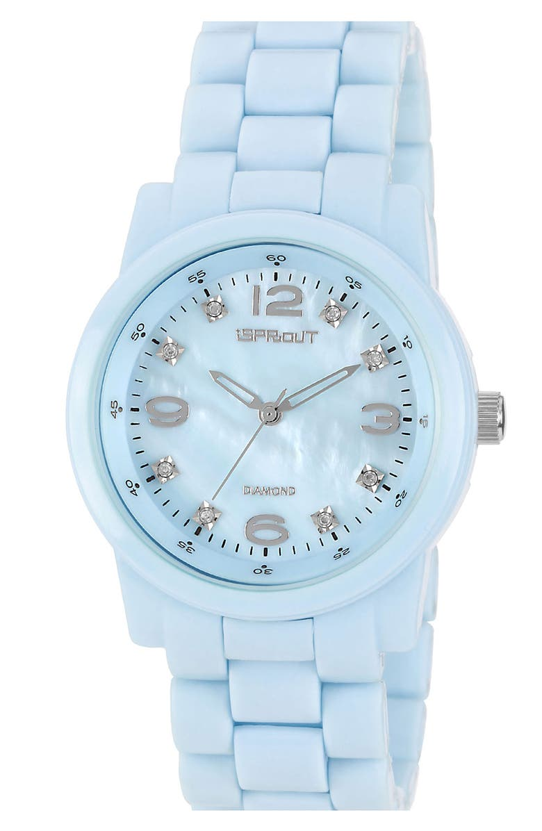 SPROUT<SUP>™</SUP> WATCHES Colored Mother-of-Pearl & Diamond Bracelet Watch, Main, color, 400