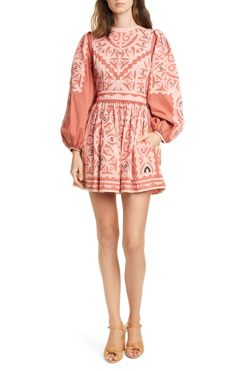 ULLA JOHNSON Omaira Long Sleeve Minidress, Main, color, SUNBLEACHED ROSE