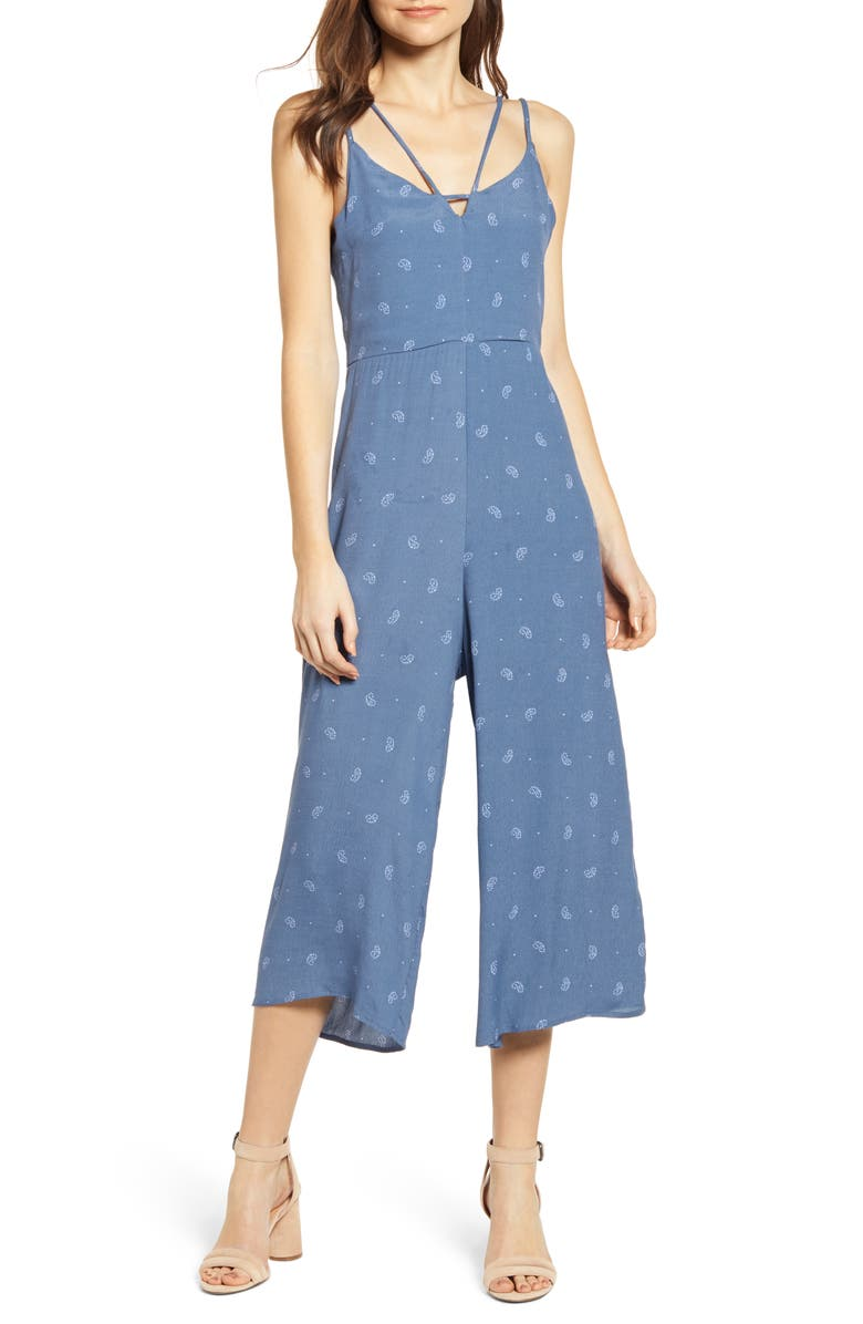 BISHOP + YOUNG Peekaboo Sleeveless Jumpsuit, Main, color, LIGHT BLUE