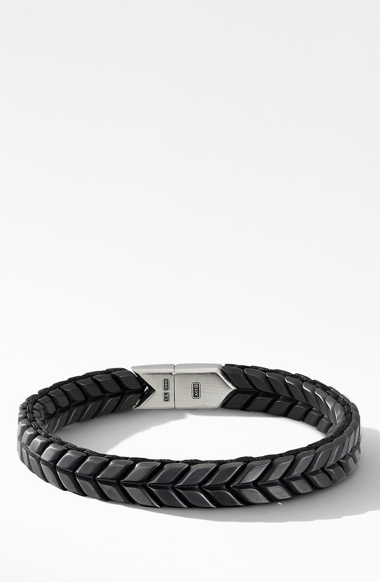 DAVID YURMAN Chevron Woven Bracelet, Main, color, BLACK TITANIUM/ SILVER