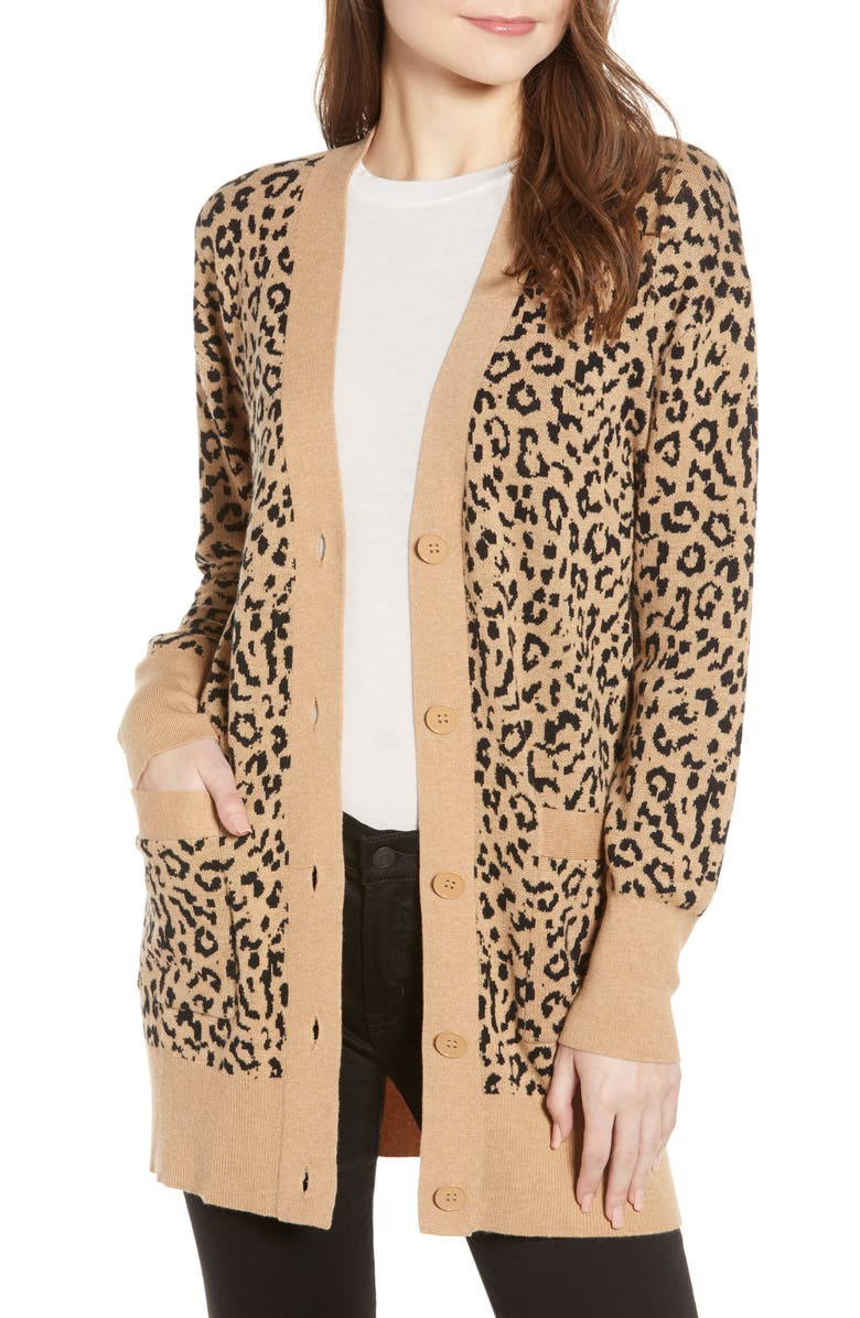 J.CREW Leopard Jacquard Cardigan, Main, color, 250