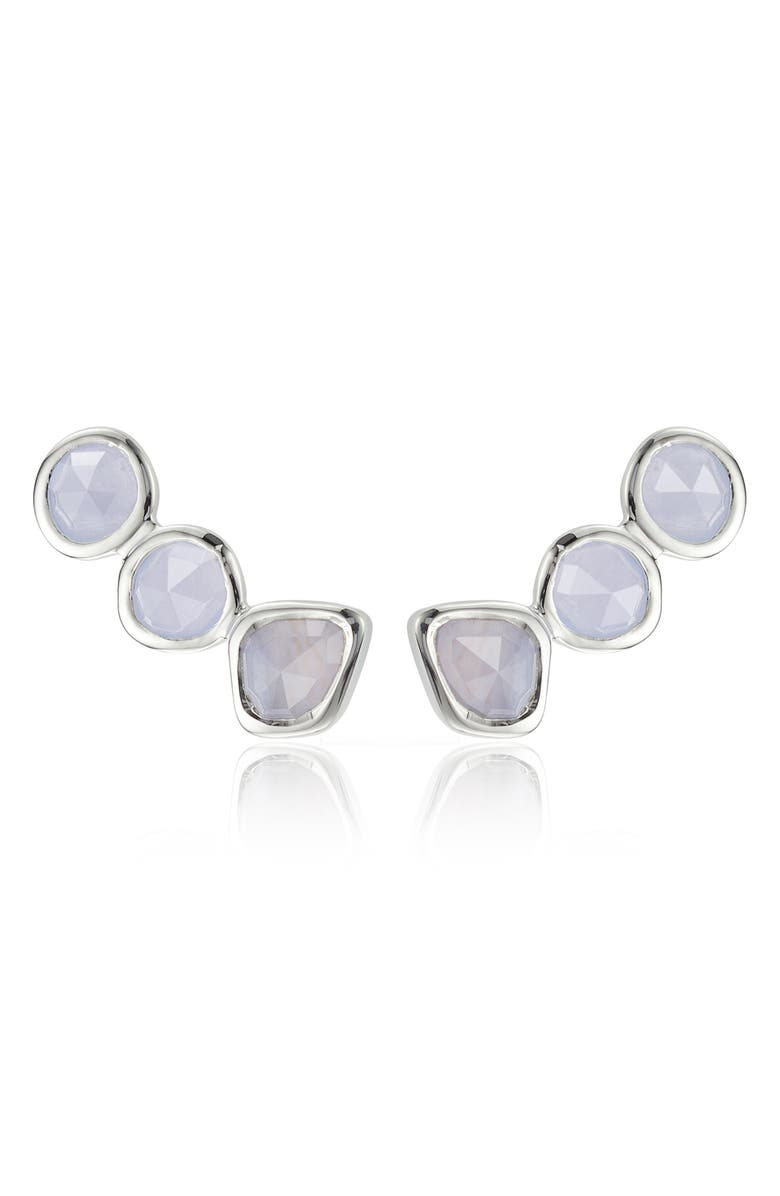 MONICA VINADER Siren Ear Crawlers, Main, color, SILVER/ BLUE LACE AGATE