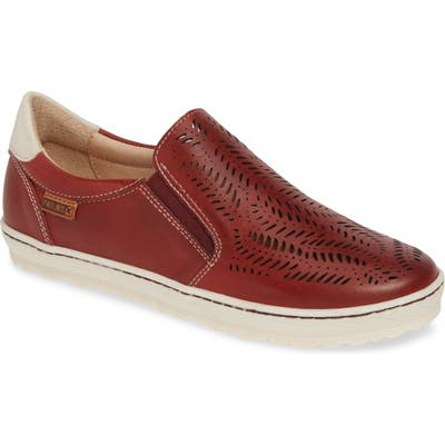 Pikolinos Lagos Perforated Slip-On Sneaker, Red