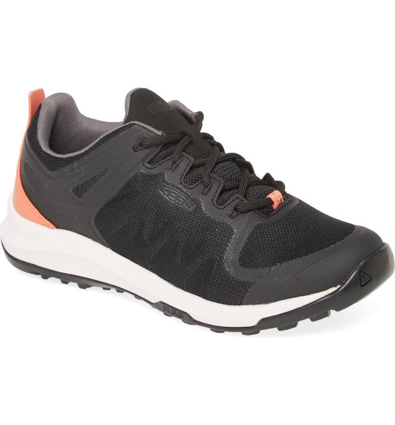 KEEN Explore Vent Sneaker, Main, color, BLACK/ CORAL FAUX LEATHER