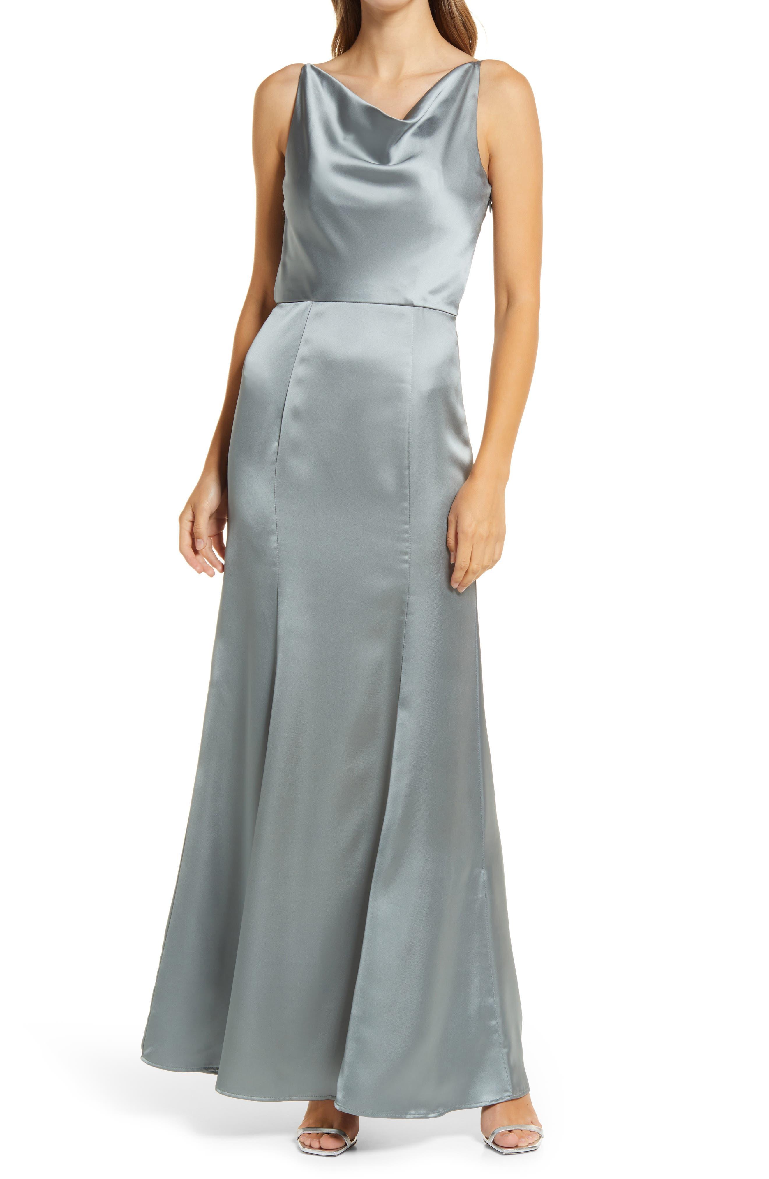 Julianna Cowl Neck Satin Gown