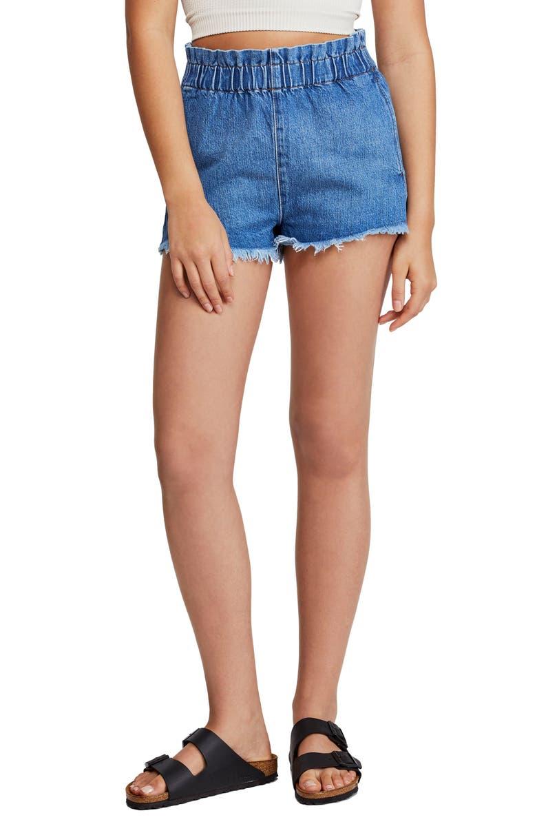 BDG Urban Outfitters Paperbag Waist Denim Cutoff Shorts, Main, color, DENIM
