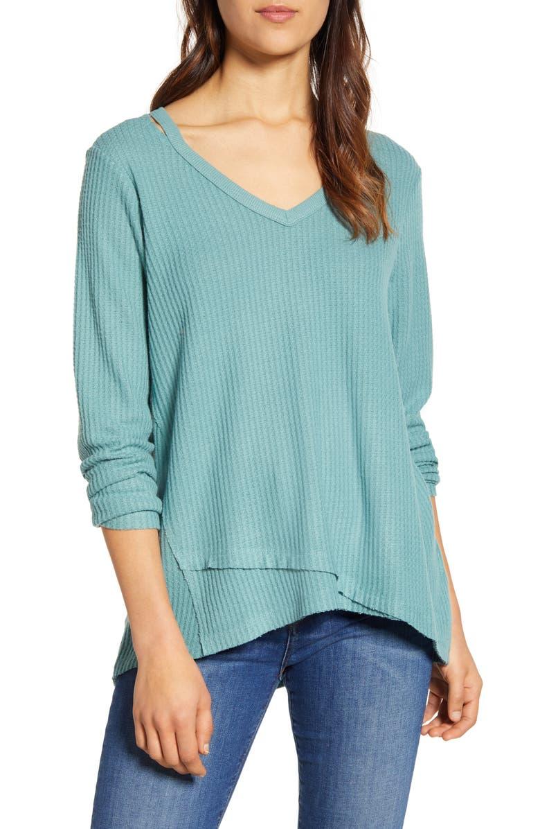 WIT & WISDOM Shoulder Slit Thermal Knit Top, Main, color, JADE STONE