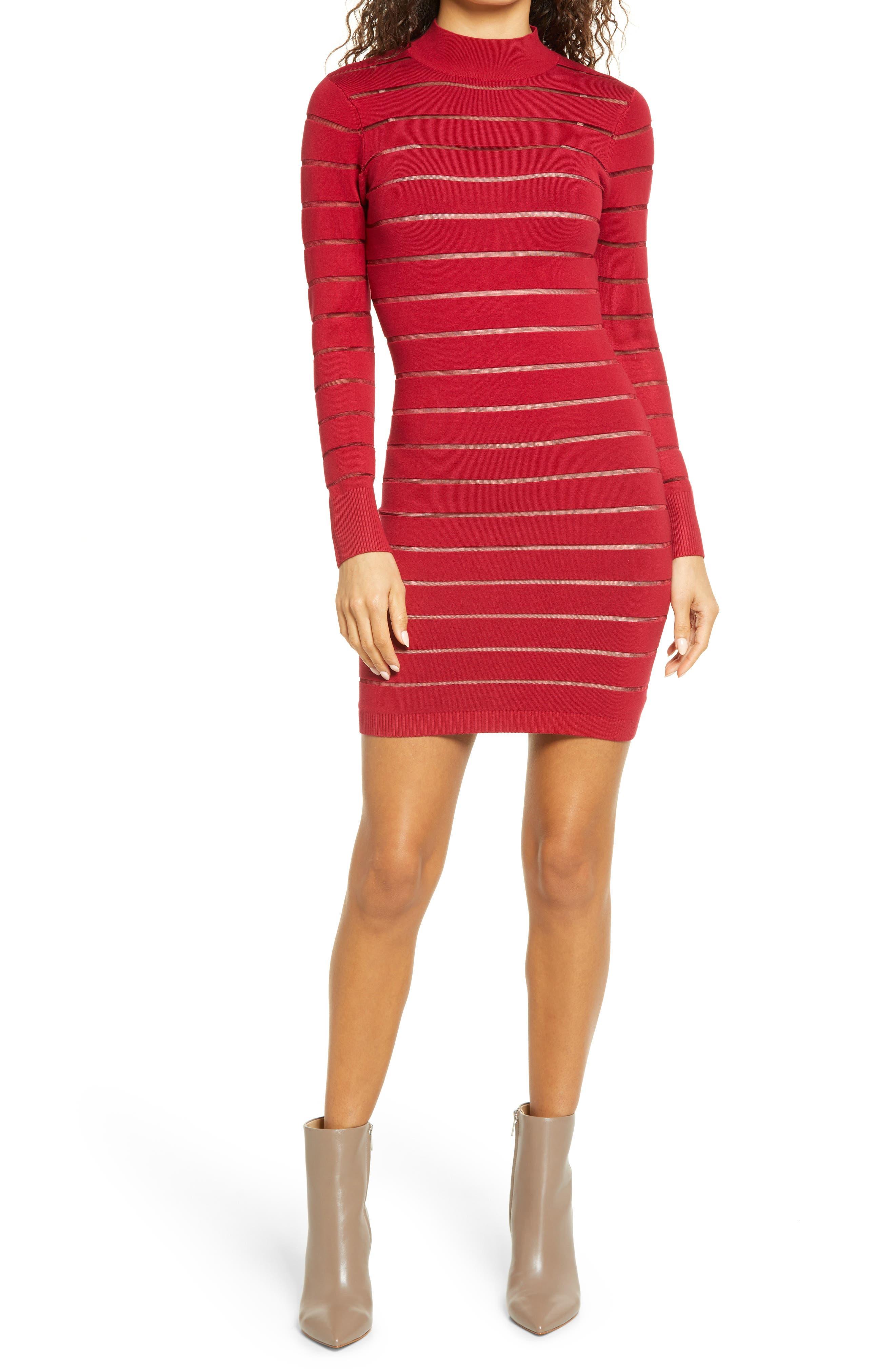 Mock Neck Long Sleeve Sweater Dress