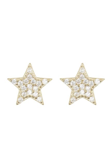 Image of Lesa Michele Gold Plated Sterling Silver Pave CZ Star Earrings & Necklace Set