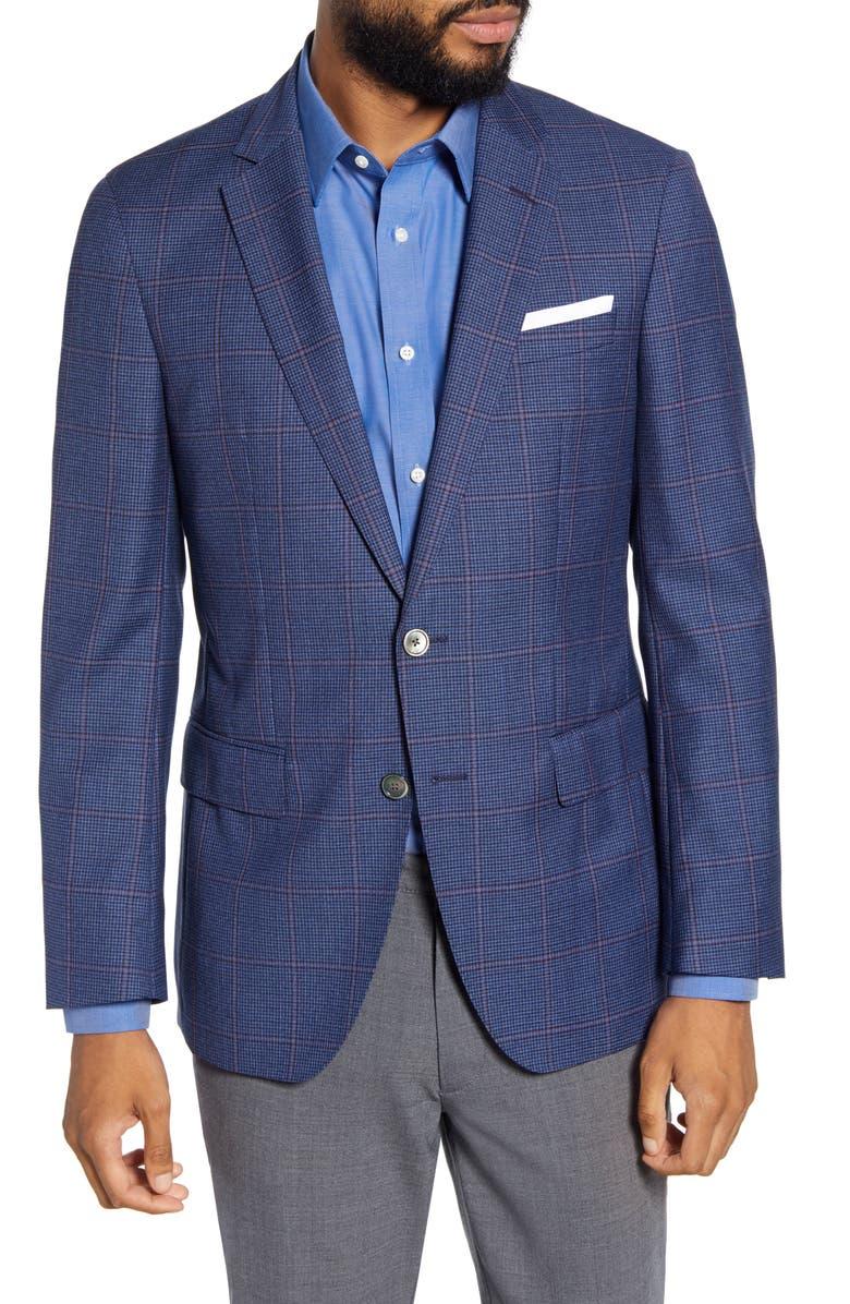 BOSS Hartlay Trim Fit Windowpane Wool Sport Coat, Main, color, BLUE/ RED WINDOWPANE