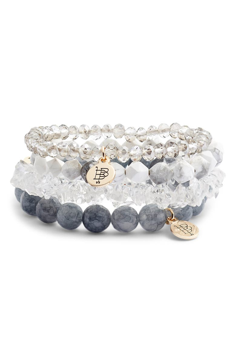 BOURBON AND BOWETIES Set of 4 Beaded Stretch Bracelets, Main, color, GREY/ WHITE/ CLEAR