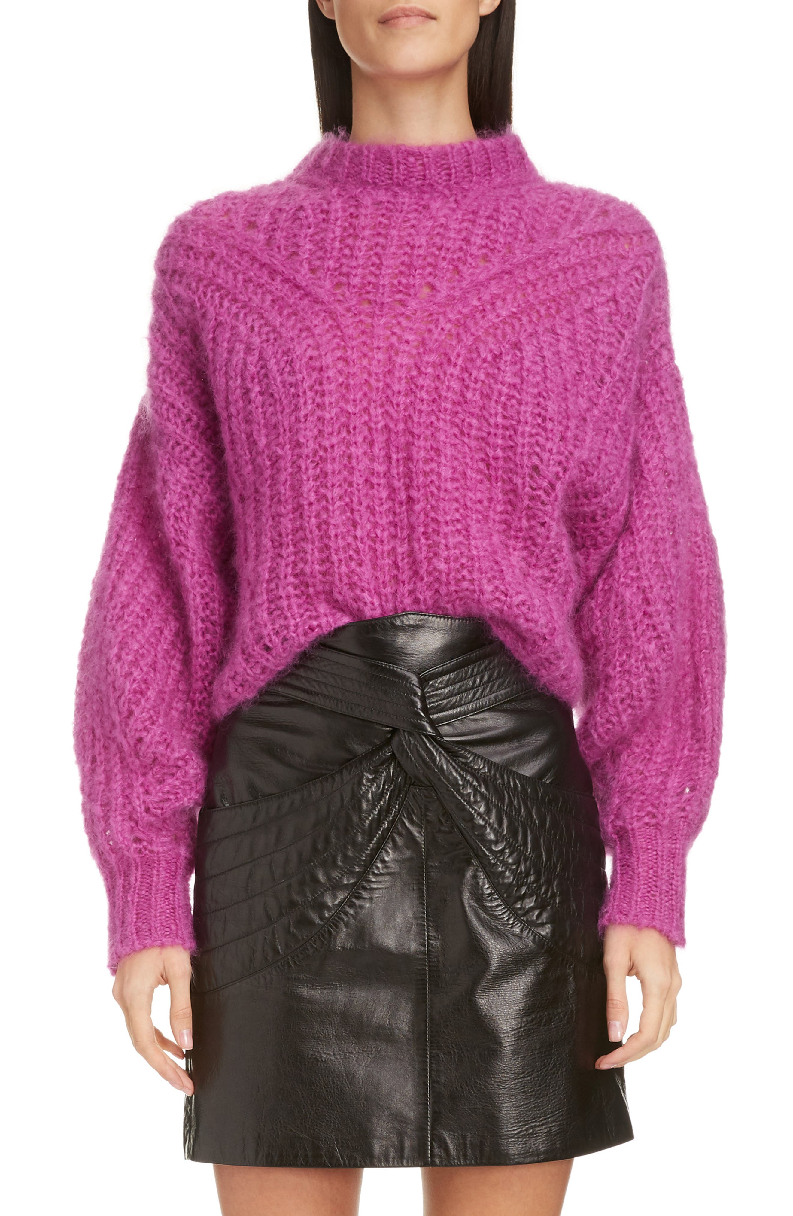 Isabel Marant Puff Sleeve Mohair & Wool Blend Sweater, 4 FR - Pink