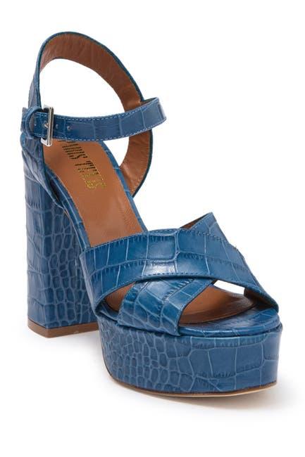 Image of PARIS TEXAS Open Toe Croc Embossed Print Platform Sandal