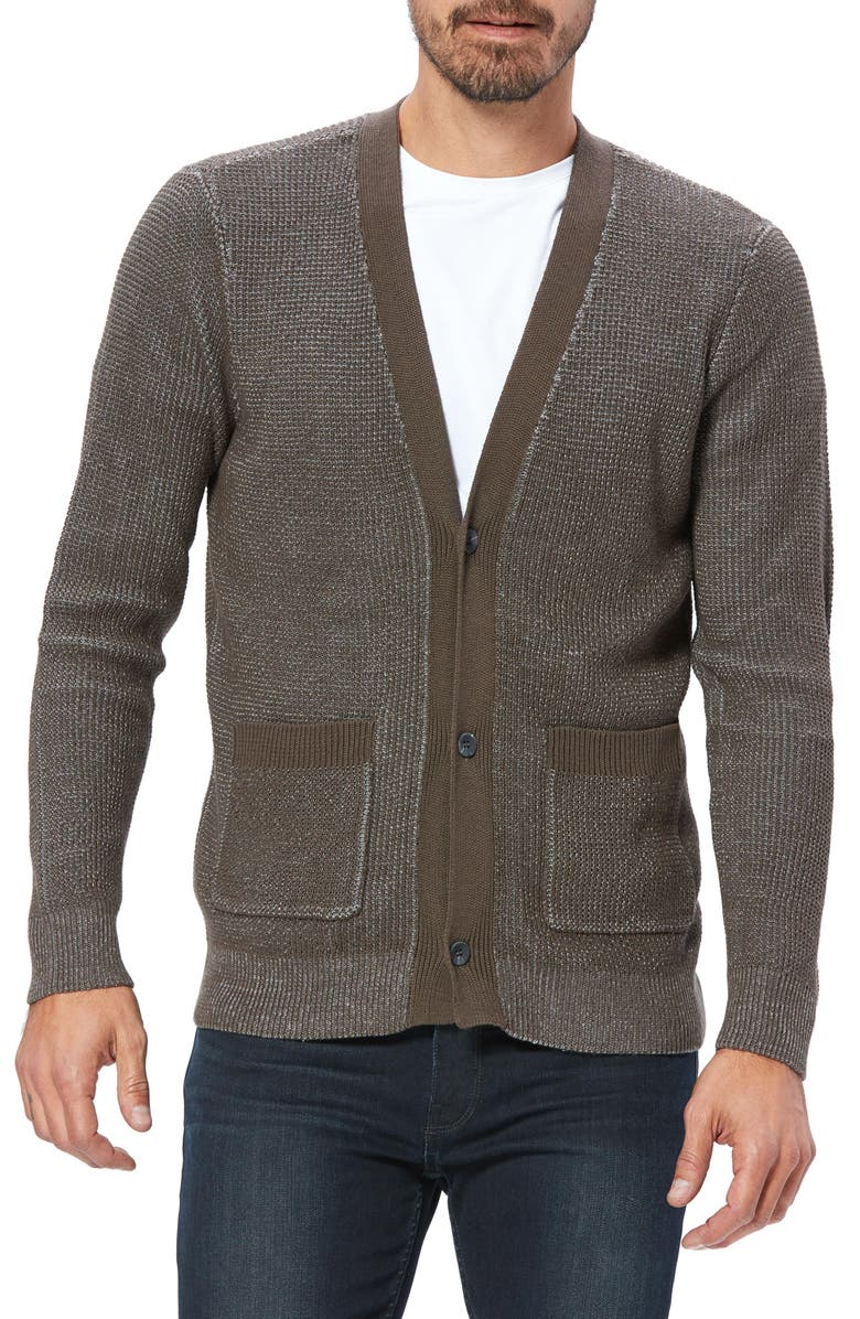 PAIGE Hudson Two Tone Cardigan Sweater, Main, color, HEATHERED BLACK OLIVE