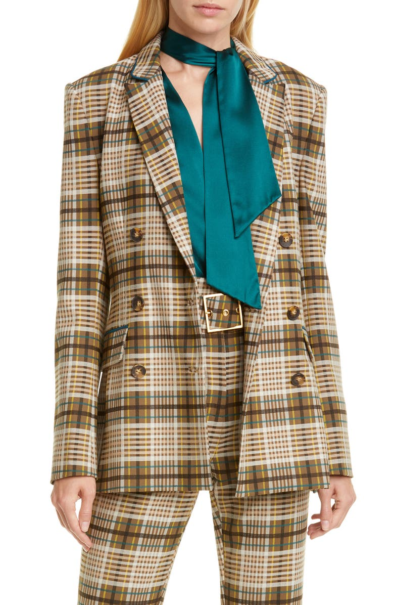 JONATHAN SIMKHAI Double Breasted Plaid Jacket, Main, color, 700