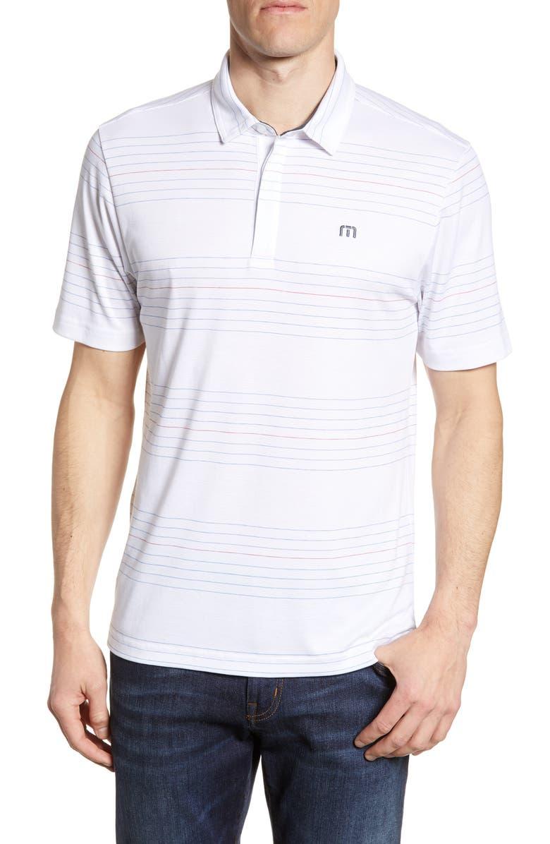 TRAVISMATHEW Gooden Regular Fit Stripe Polo, Main, color, WHITE