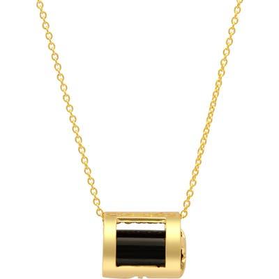 Conges Protection Black Tourmaline Initial Barrel Pendant Necklace