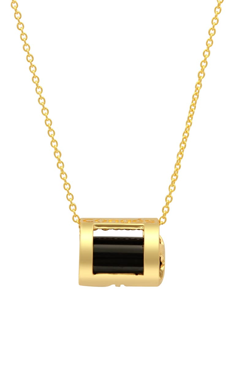 CONGÉS Protection Black Tourmaline Initial Barrel Pendant Necklace, Main, color, YELLOW GOLD
