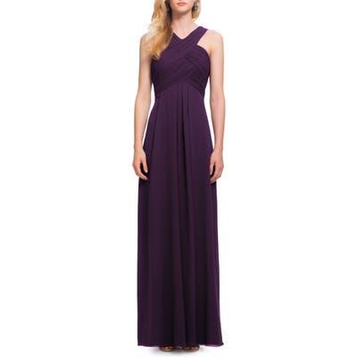 #levkoff Crisscross Bodice Chiffon Gown, Purple