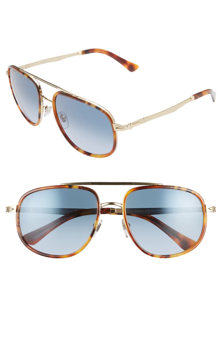 PERSOL 57mm Aviator Sunglasses, Main, color, BROWN/ AZURE GRADIENT BROWN