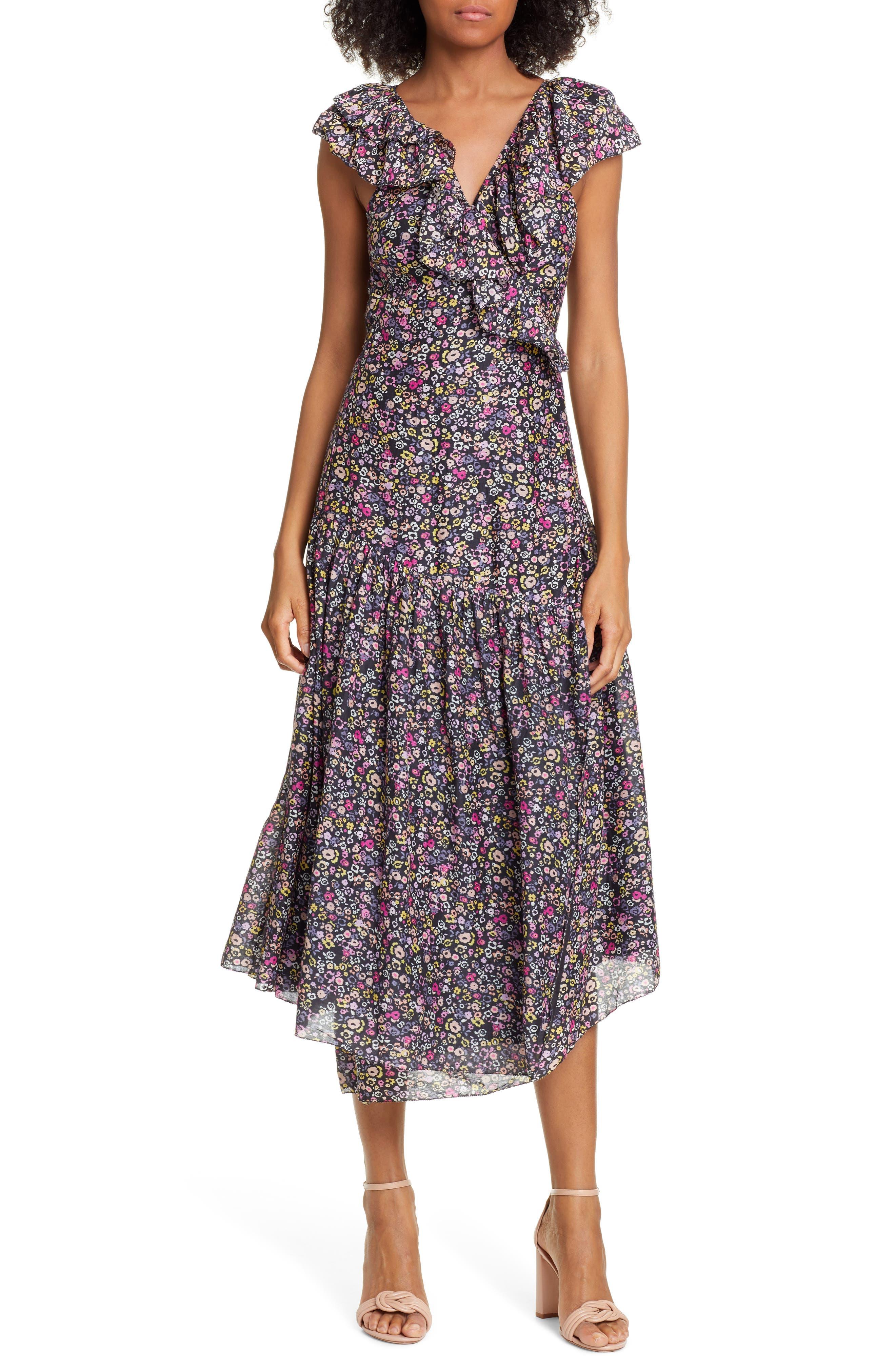 Apiece Apart Nueva Costa Floral Print Cotton & Silk Wrap Dress, Black