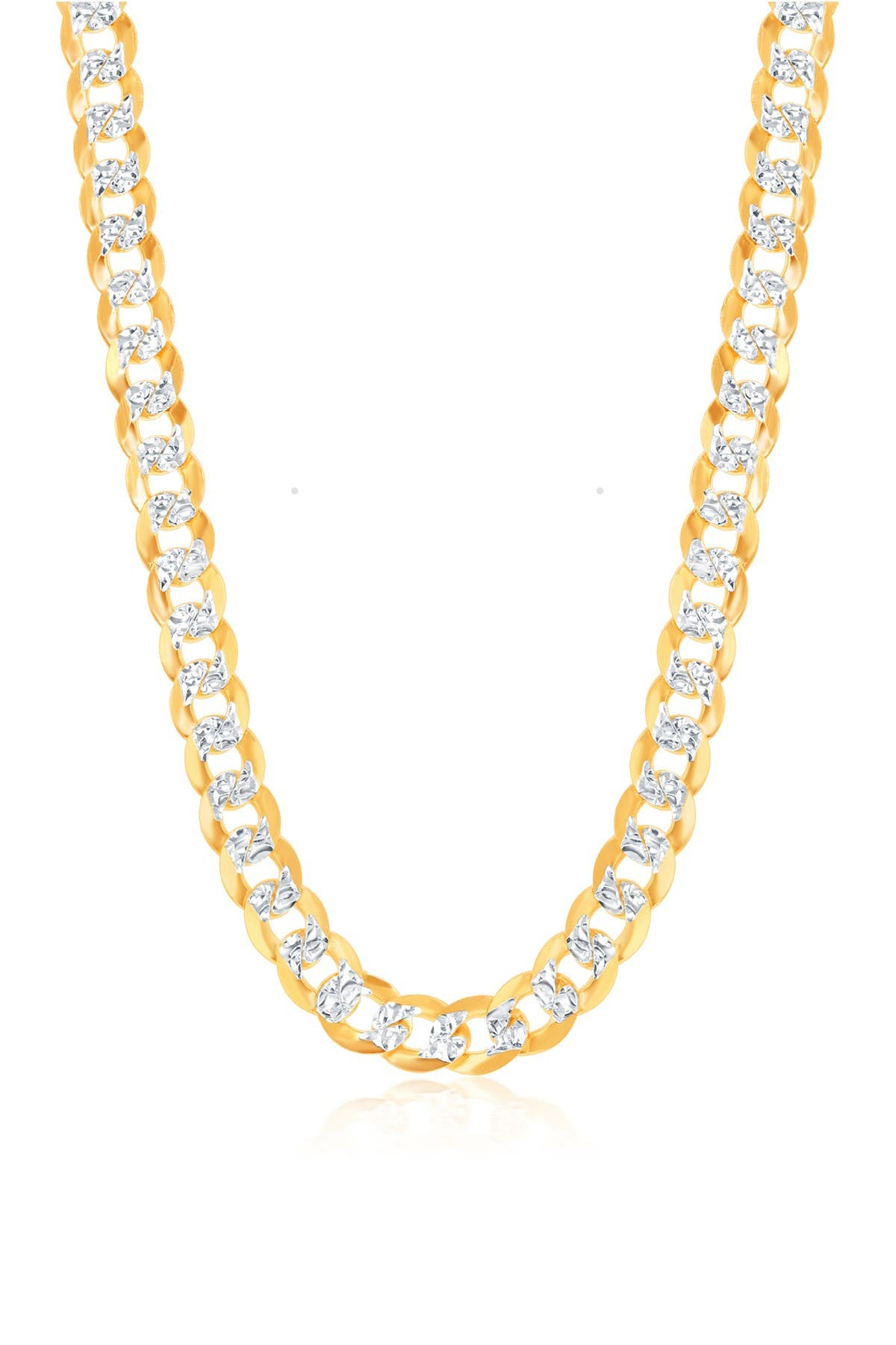 Image of Simona Jewelry 14K Yellow Gold Plated Sterling Silver 7.3mm Flat Cuban Chain Necklace