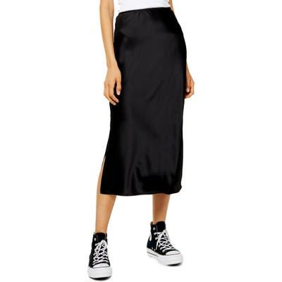 Topshop Slit Bias Cut Satin Midi Skirt