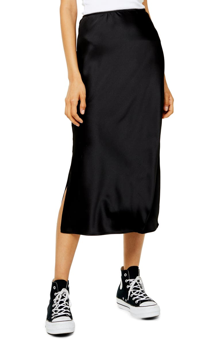 TOPSHOP Slit Bias Cut Satin Midi Skirt, Main, color, BLACK