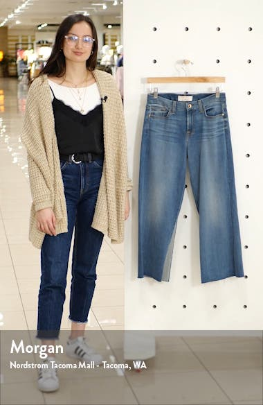 High Waist Contrast Panel Crop Wide Leg Jeans, sales video thumbnail