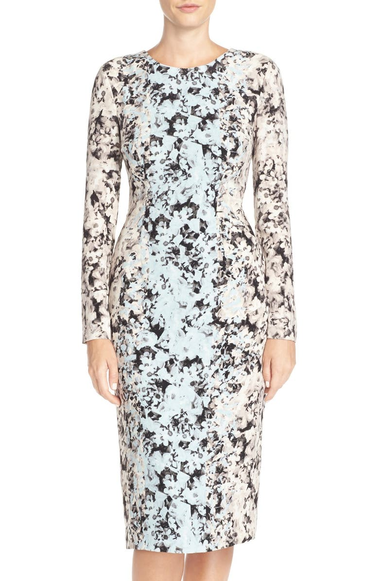 MAGGY LONDON Flower Printed Sheath Dress, Main, color, 001