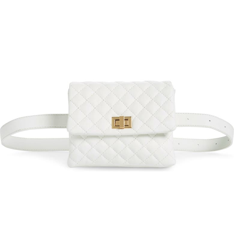 MALI + LILI Quilted Vegan Leather Belt Bag, Main, color, WHITE