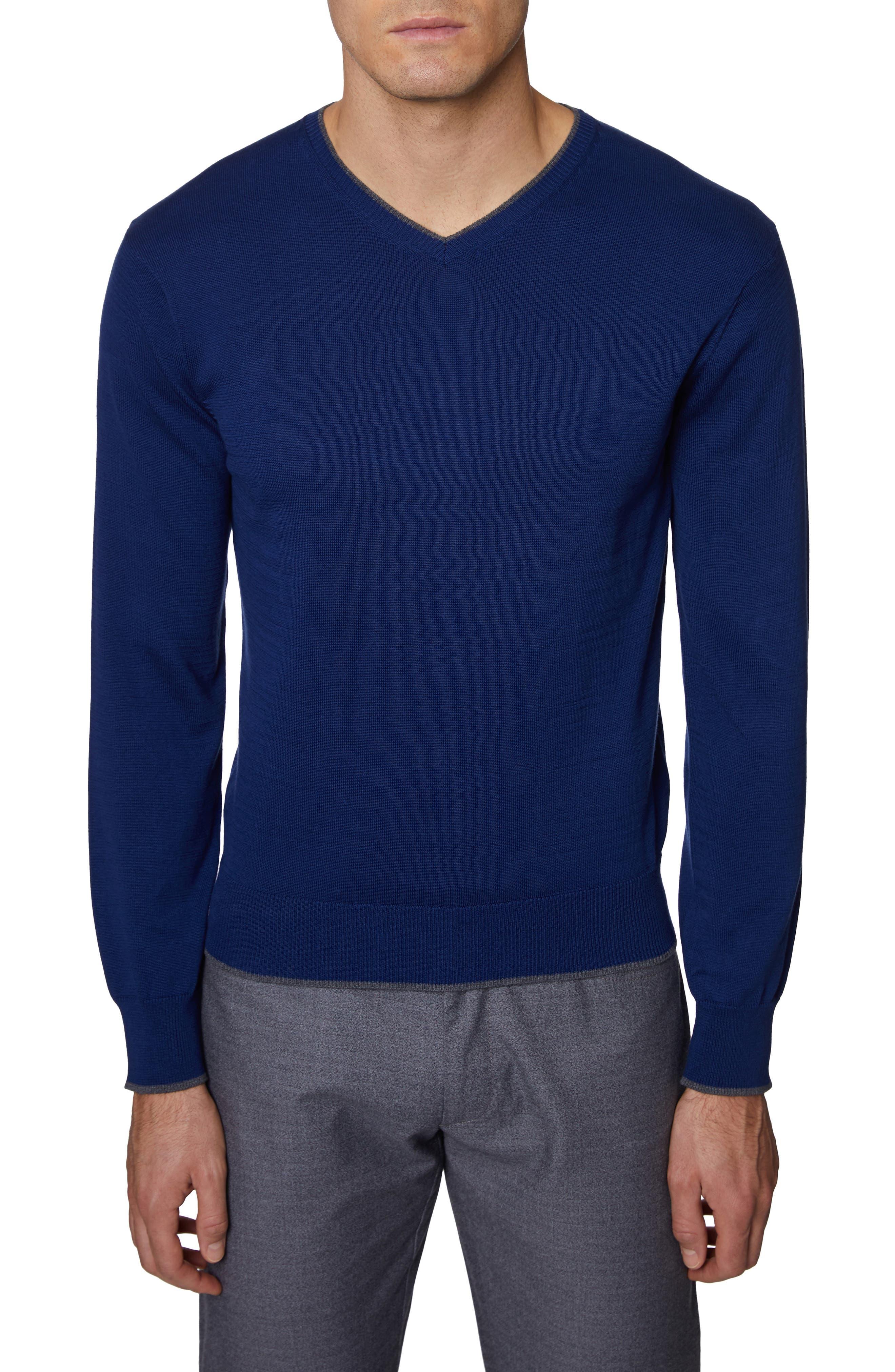 Hickey Freeman V-Neck Cotton Sweater, Blue