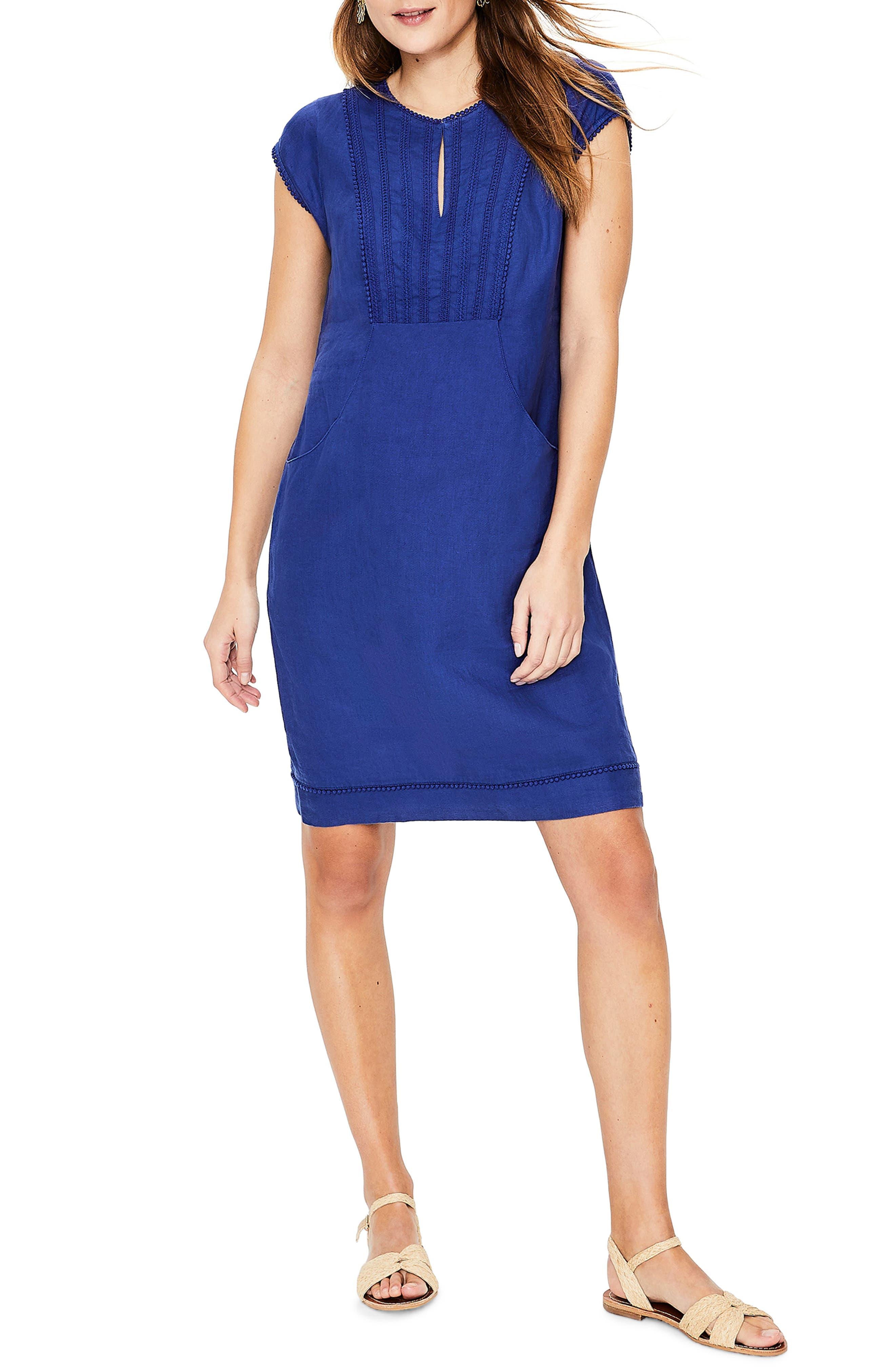 women's boden jessica linen dress, size 4 - blue