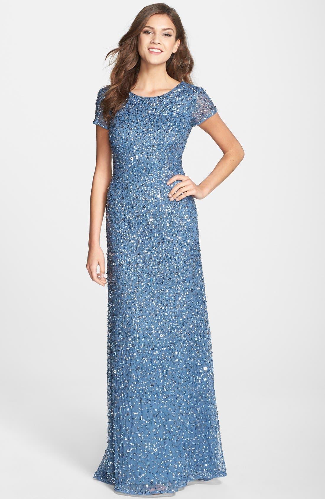 ,                             Short Sleeve Sequin Mesh Gown,                             Main thumbnail 51, color,                             424