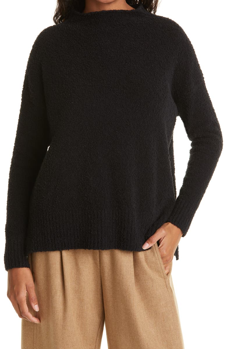 EILEEN FISHER Funnel Neck Sweater, Main, color, BLACK