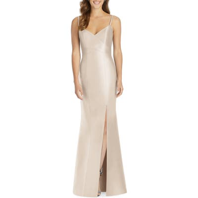 Plus Size Alfred Sung Sateen Twill Trumpet Gown, Beige