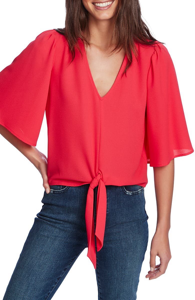 1.STATE Tie Front Blouse, Main, color, PINK TART