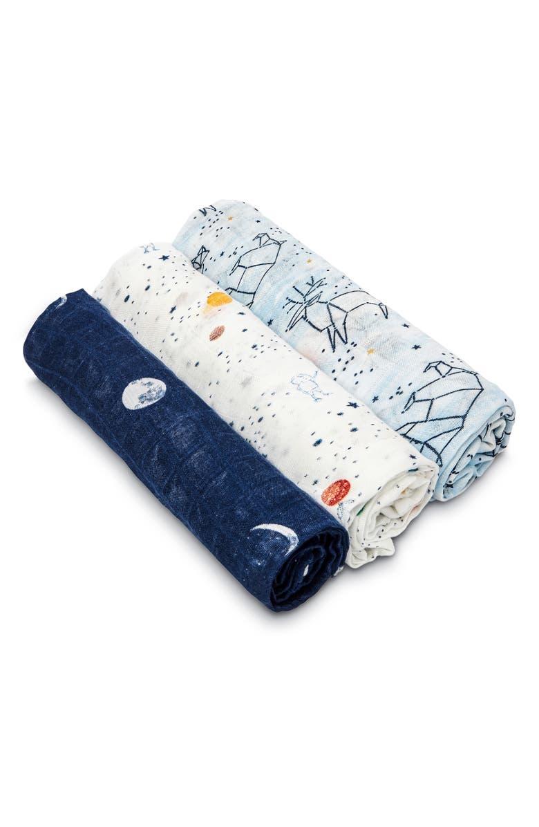ADEN + ANAIS White Label 3-Pack Swaddling Cloths, Main, color, STARGAZE