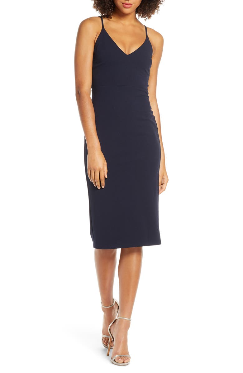 LULUS Infinite Glory Body-Con Dress, Main, color, NAVY