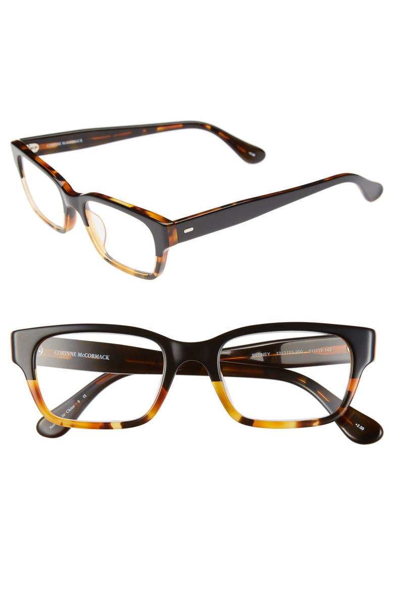 CORINNE MCCORMACK Sydney 44mm Reading Glasses, Main, color, BLACK TORTOISE