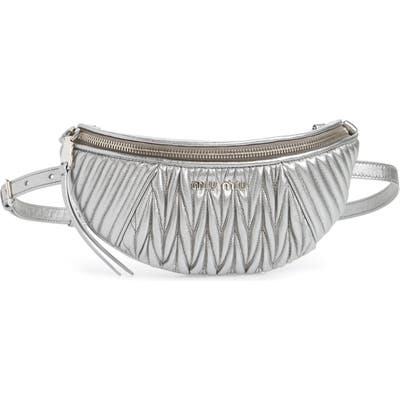 Miu Miu Matelasse Lambskin Leather Belt Bag - Metallic