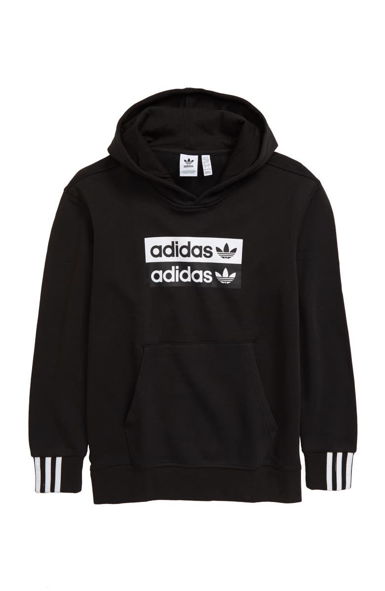 ADIDAS ORIGINALS adidas V-Ocal Fleece Pullover Hoodie, Main, color, BLACK