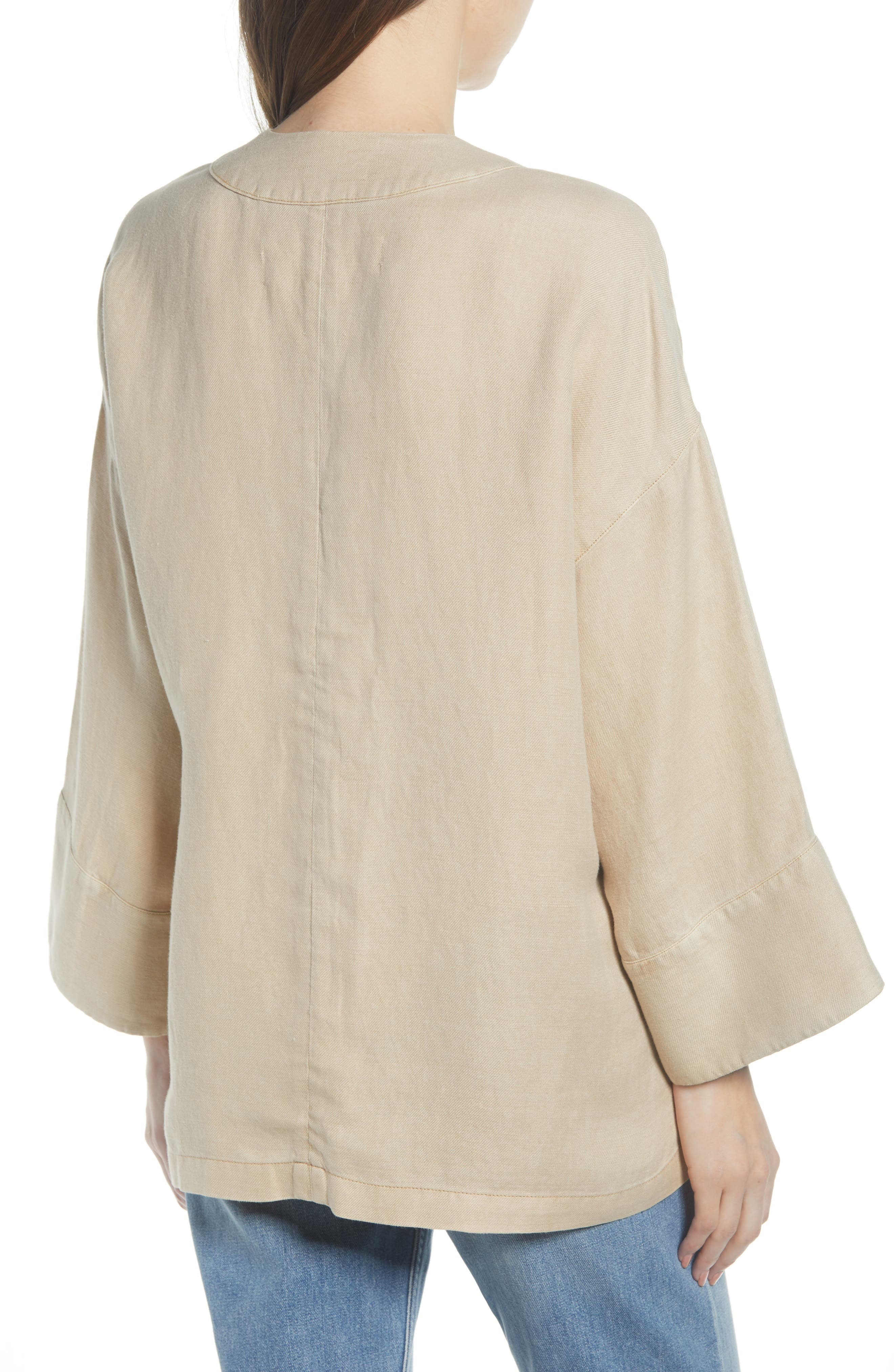 ,                             Linen Blend Wrap Jacket,                             Alternate thumbnail 2, color,                             BEIGE BIRCH
