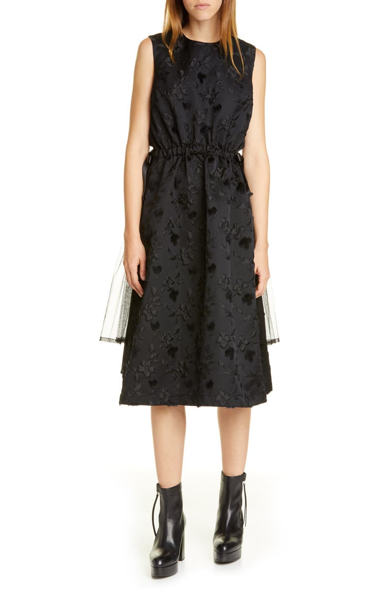 NOIR KEI NINOMIYA Floral Midi Dress, Main, color, BLACK