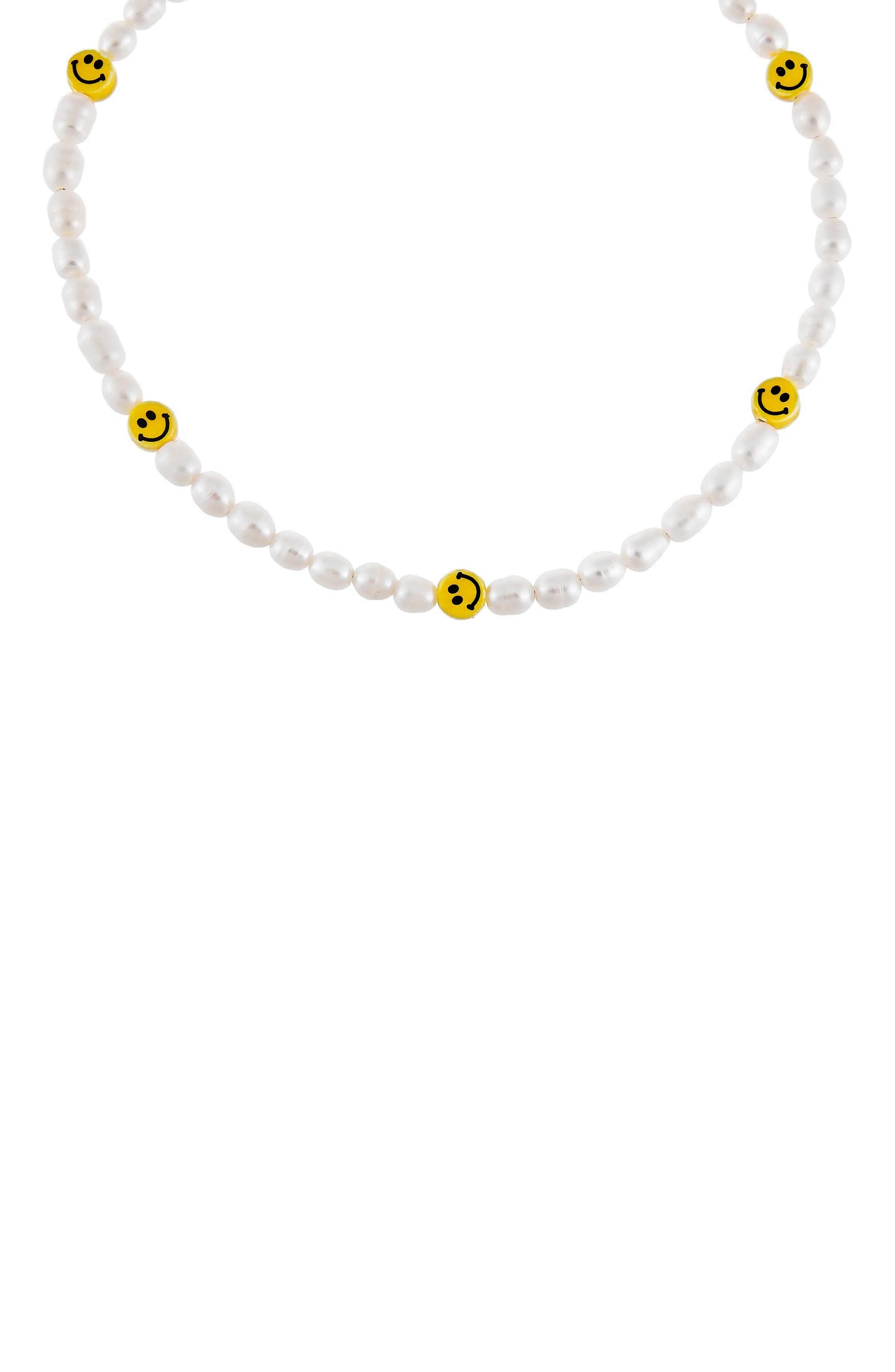 Women's Adina's Jewels Smiley Face Genuine Pearl Necklace