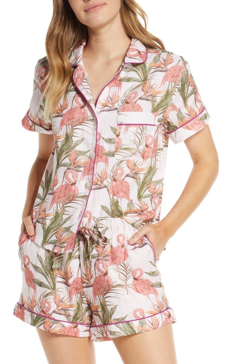 THE LAZY POET Nina Linen Short Pajamas, Main, color, FLAMINGO DREAMS
