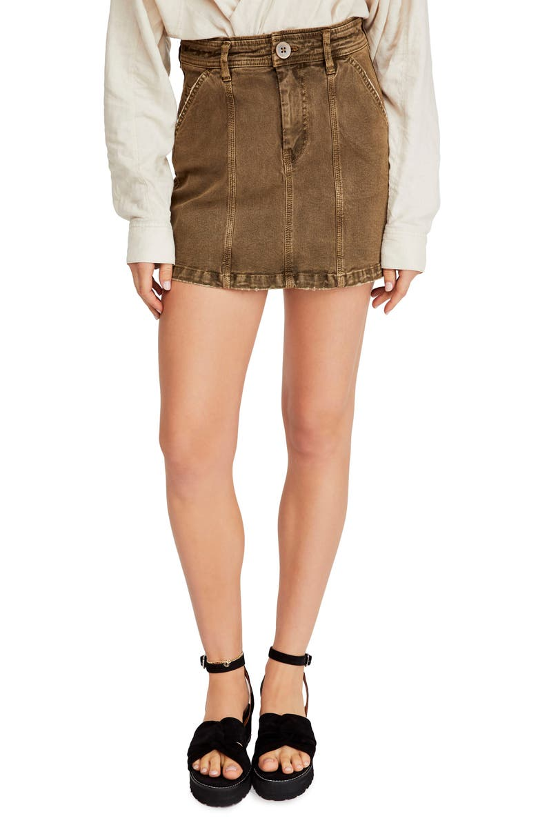 FREE PEOPLE Topstitch Detail Miniskirt, Main, color, COPPER