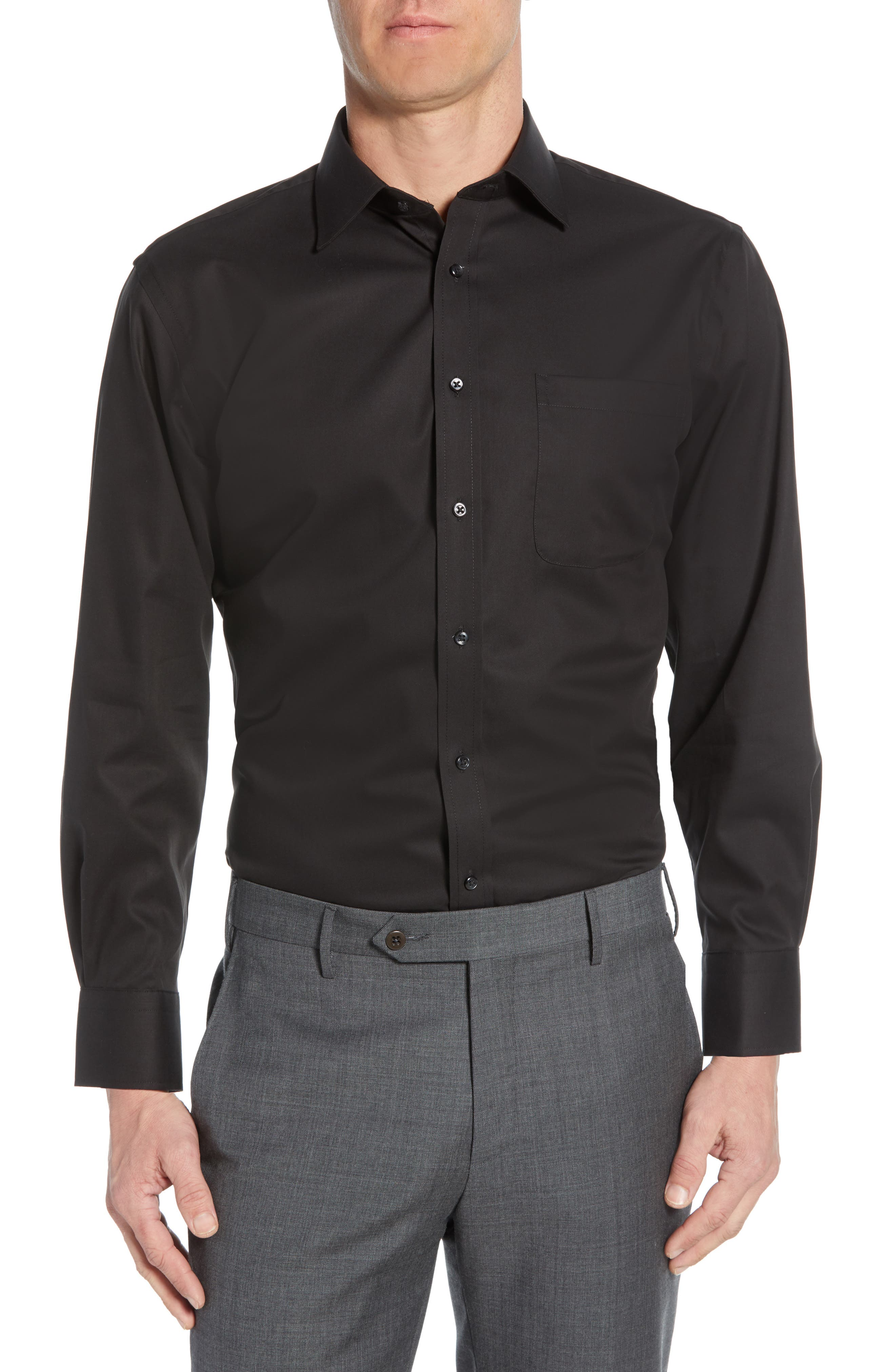 Traditional Fit Non-Iron Dress Shirt, Main, color, BLACK