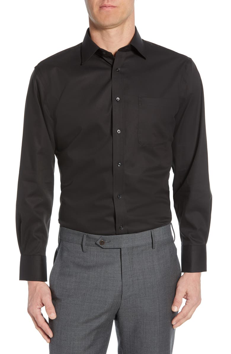 NORDSTROM MEN'S SHOP Traditional Fit Non-Iron Dress Shirt, Main, color, BLACK